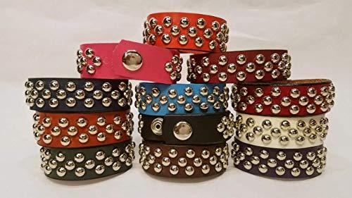 Leather Bracelets with 3 row Metal Studs 1