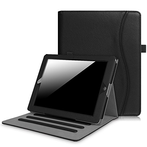 Fintie iPad 2/3/4 Case [Corner Protection] - [Multi-Angle Viewing] Folio Smart Stand Cover with Pocket, Auto Sleep/Wake for Apple iPad 2, iPad 3 & iPad 4th Gen with Retina Display, Black (Best Leather Ipad 3 Case)