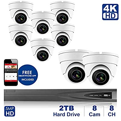 4K 8 CH NVR with Home Security System with 5MP IP Poe Dome 8pcs White Security Dome Camera?Plug and Play,Remote Home Monitoring System,2TB Storage (8 Channel System, 8pcs Whitedome Cameras)