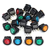Summer-Home 12V Car Boat Auto Motorcycle Round LED Dot Light ON/OFF Rocker Toggle SPST Switches,Pack of 20,4 Colors