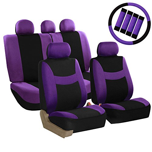 FH Group FB030PURPLE-COMBO Seat Cover Combo Set with Steering Wheel Cover and Seat Belt Pad (Airbag Compatible and Split Bench - Covers Seat Am