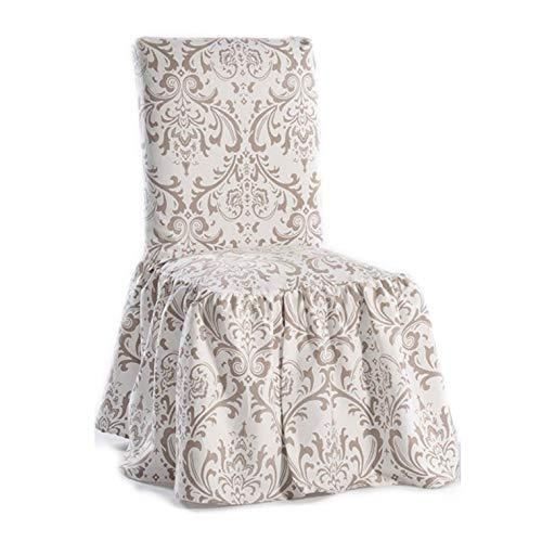 Classic Slipcovers Damask Print Ruffled Dining Chair Slipcovers (Set of 2) - Dining Chair Ruffled Slipcover