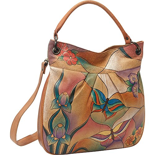 Anuschka Handpainted Leather Large Convertible Tote, Butterfly Glass Painting, One Size by ANUSCHKA