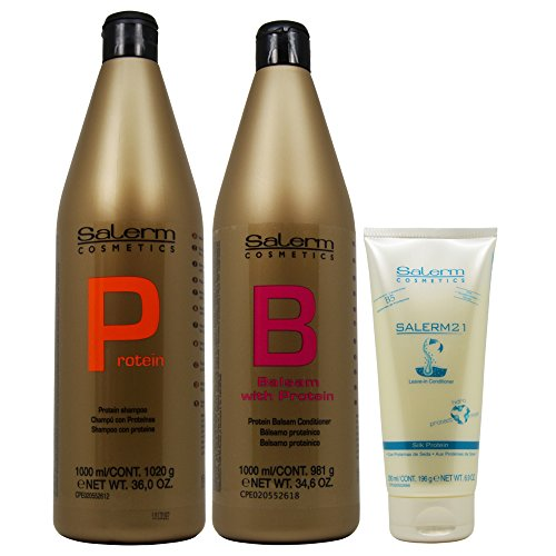 Salerm Protein Shampoo 1000ml + Balsam Conditioner 1000ml + 21 Leave in Conditioner 200ml (Combo -