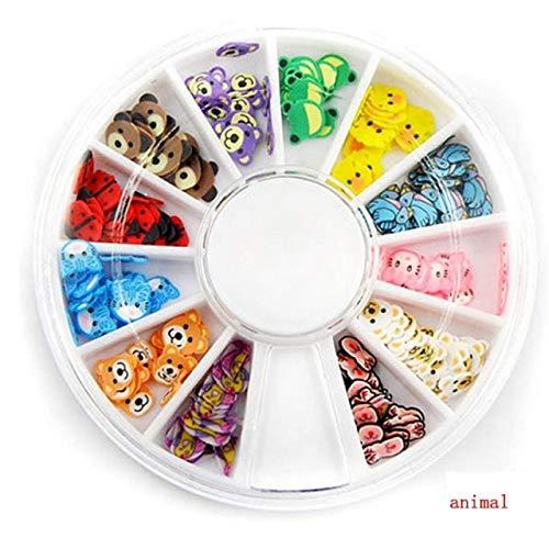OBELLA BOUTIQUE 3D Polymer Clay Tiny Fimo Acrylic Fruit Animal Heart slices Wheel Nail Art DIY Designs Wheel Nail Art Decorations 120 - Clay Polymer Boutique