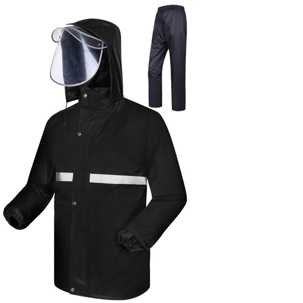 noir M GONGYU Un imperméable imperméable, Un Pantalon de Costume, Un Costume imperméable pour Homme et Une Femme Adulte chevauchant Une Veste imperméable Fendue Contre la tempête