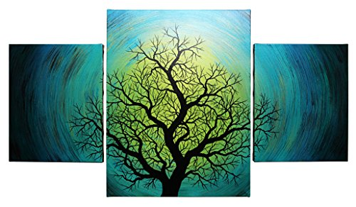 Modern triptych : Aurora borealis tree (133 x 65 (65 Contemporary Satin)