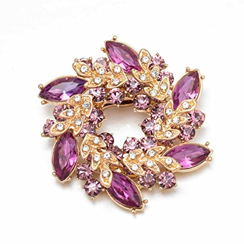 Joyfulshine Womens 18k Gold Plated Crystal Flower Brooch Pin for Ladies Girls Accessories