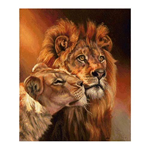 DIY Diamond Painting Lion and Lioness Pattern Cross Stitch Diamond Embroidery Art Craft for Kids Parents Z370