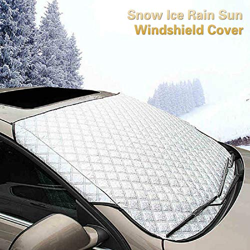 Car Windshield Cover for Snow and Ice, Winter Frost Guard Sun Shade Protector, Thicker Cotton Snow Removal Shield Windscreen Cover Waterproof All Weather for Most Car, SUV, Trucks, 57x 39inch