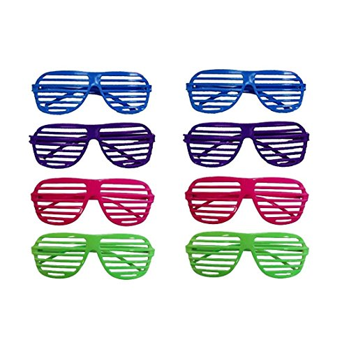 Dazzling Toys 80's 80's Slotted Toy Sunglasses Party Favors Costume - Pack of 12 - Assorted ()
