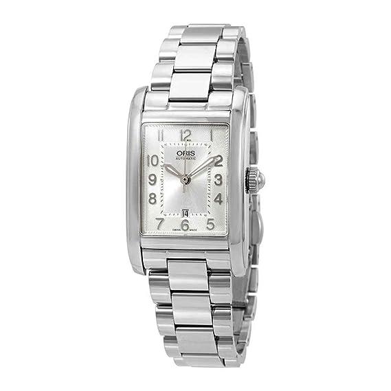 Oris - Reloj rectangular automático para mujer, esfera de plata, 01 561 7692 4061