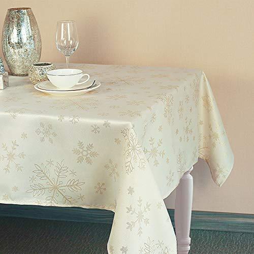 LAVIN Christmas Tablecloth,Polyester Oblong Table Cloth,Shining Snowflake Rectangular