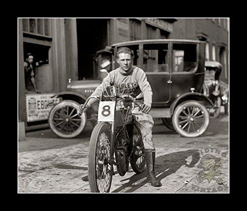 (8 x 10 All Wood Framed Photo Racer Freddie Fretwell's Harley Davidson Riding Monkey)