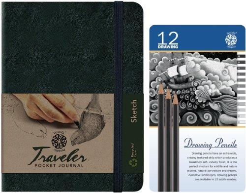 Размер: 6 дюймов x 8-дюймовый черный путешественник эскиз журнал с 12 карандашный рисунок олово комплект