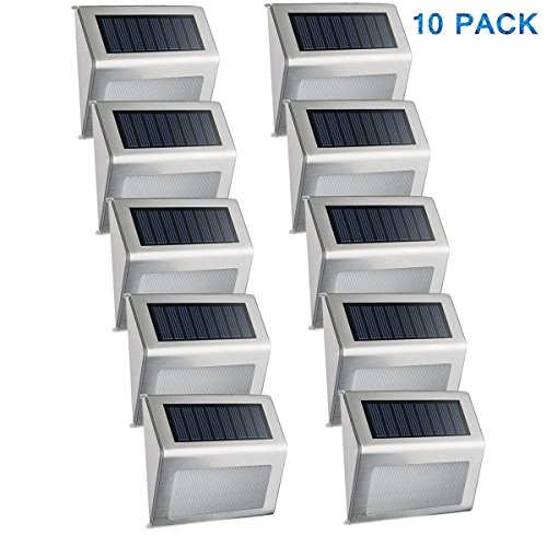 Easternstar Solar Light,Outdoor Waterproof Stainless Steel Solar LED Step Light Illuminates Stairs Patio Deck Yard Garden Outsides Path Fence Post lamp (10 Pack) (Fence Lamp)