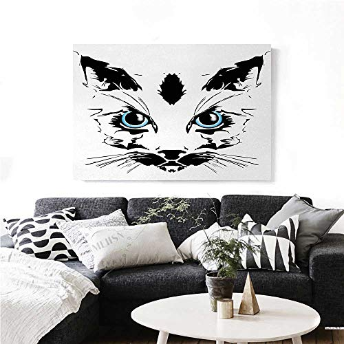 homehot Animal Modern Canvas Painting Wall Art Big Cat Face Pet Cute with Whiskers witn Dark Shadow Hand Drawn Image Art Stickers 24