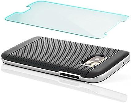 Saxonia Coque Verre trempé Samsung Galaxy S7 Housse de Protection Silicone Case Hybride TPU Slim Cover Coque Bumper [Anti Choc] Noir-Gris