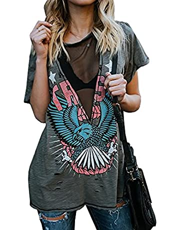 e7a139bae Karlywindow Womens Distressed Eagle Print Mesh V Neck Loose Graphic Short  Sleeve T-Shirt Tops