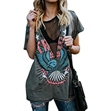 Womens Distressed Eagle Print Mesh V Neck Loose Graphic Short Sleeve T-Shirt Tops Blouse
