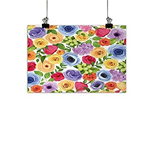 Anemone Flower PaintingsOrnate Colorful Fresh Flowers of Summer Season Forest with Green Leaves Frameless Canvas Texture decorationMulticolor 113