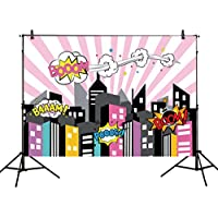 Allenjoy 7x5ft photography backdrops superhero super city buildings girls birthday party event banner photo studio booth background baby shower photocall
