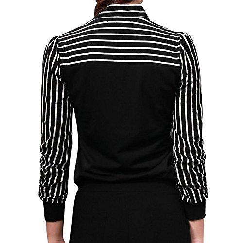 Attacher saison Col Blouses shirt Top Femme Femme Fille Originaux Ray Femme Mi Chemisiers Officier lgant Style Longra Noir longue age OL Femme Tee La Femme Chic Femme Top rond Haut Manche qfIzxFw7a