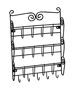 Hampton Direct 3 Tier Letter Rack With Key Holder Office Kitchen Wall Mount Organizer