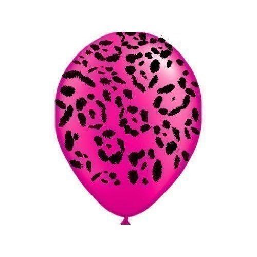 Safari Animal Print Pearl Magenta Pink Leopard Print Balloons x 5 - Qualatex 11