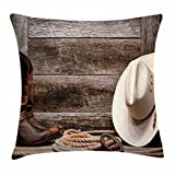 Ambesonne Western Throw Pillow Cushion Cover, Authentic American Rodeo Items Lasso Hat Boots Horseshoe Rustic Wooden House, Decorative Square Accent Pillow Case, 24 X 24 Inches, Brown Cream Tan