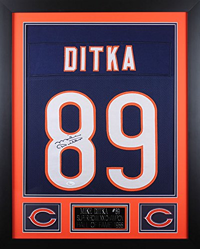 Hand Signed Ditka Mike - Mike Ditka Autographed Blue Bears Jersey - Beautifully Matted and Framed - Hand Signed By Mike Ditka and Certified Authentic by JSA COA - Includes Certificate of Authenticity