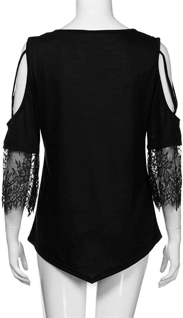 Womens Casual O-Neck Sleeveless Vest,Selinora Ladys Summer Loose Fashion Asymmetric Print Lace Camis Vest Tee Blouse