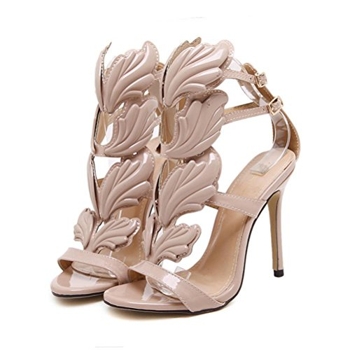 Inkach Womens Summer Thin Heel Sandals - Fashion Dream Wing Shaped Ankle Wrap Buckle Shoes Khaki 5vYr6Rzfd0
