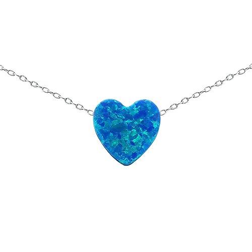 Amazon multicolor 8mm opal heart pendant necklace 925 sterling multicolor 8mm opal heart pendant necklace 925 sterling silver chain necklace for womens girls children aloadofball Choice Image