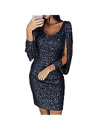 Meiyiu Women V-neck Slim Sequined Tassel Long Sleeve Shining Bodycon Dress black XL