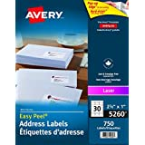 "Avery Address Labels with Easy Peel for Laser Printers, 1"" x 2-5/8"", White, Rectangle, 750 Labels, Permanent (5260) Made in Canada"
