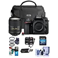 Nikon D7500 DSLR with AF-S DX NIKKOR 18-300mm f/3.5-6.3G ED VR Lens - Bundle with Faux Leather Bag, 32GB SD Card, 16GB SDHC Card, Cleaning Kit, Card Reader, 67mm Filter Kit, Software Package and More