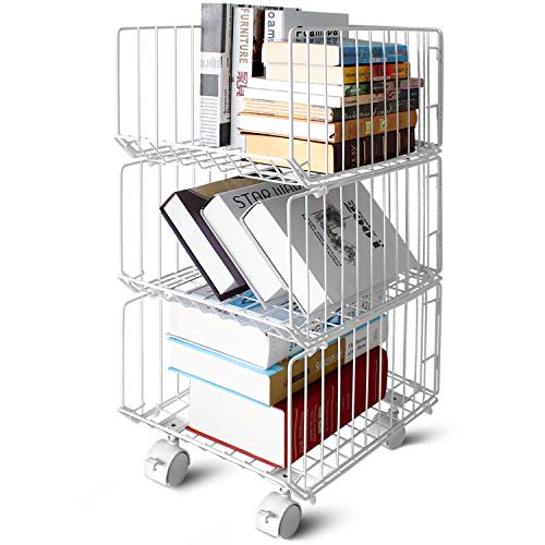 Pup joint Metal Wire Baskets, 3 Tiers Foldable Stackable Rolling Baskets Utility Shelf Unit Storage Organizer Bin with Wheels for Kitchen, Pantry, Closets, Bedrooms, Bathrooms (Organization Storage Metal Baskets Home)