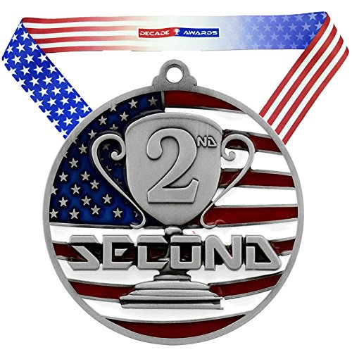 2nd Place Patriotic Medal, Silver - 2.75 Inch Wide Second Place Medallion with Stars and Stripes American Flag V Neck Ribbon - Decade - Medallion Ribbon