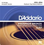 D'Addario EJ37 12-String Phosphor Bronze Acoustic Guitar Strings, Medium Top/Heavy Bottom, 12-54