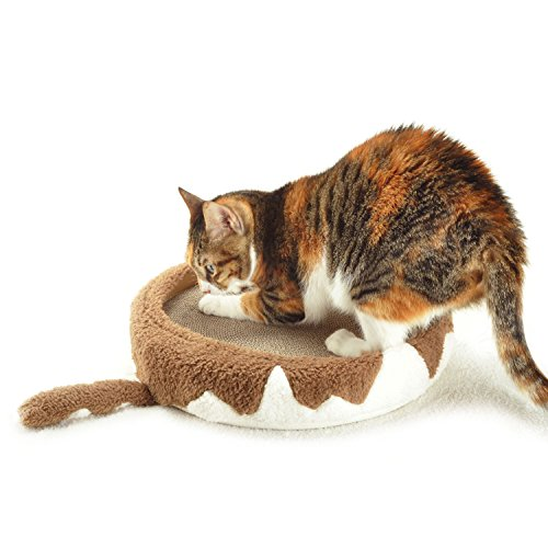 4CLAWS Round Scratching Bed 14″ (Tabby Brown and White) – DELUXE Collection Cat Scratcher