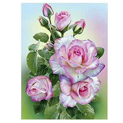 Whitelotous DIY 5D Diamond Embroidery Pink Rose Painting Cross Stitch Craft Home (Painting Pink Roses)