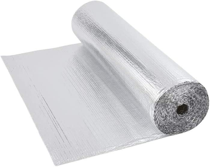 Trueshopping Biard Rollo Aislante Térmico de Aluminio de 1 Capa Doble Cara Burbujas – 1,2 m x 5 m (6 m2) Ideal para Buhardilla Desván Paredes Caravanas y Áticos – 200 g per m2
