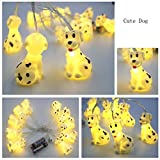 Cheap 5.9ft/1.8M 10 LEDs Cute Animal Dog String Lights ,Battery Powered Lights for Home Party, Children Kids Bedroom ,Children room,Nursery,Library or Any Kids Party Decoration.