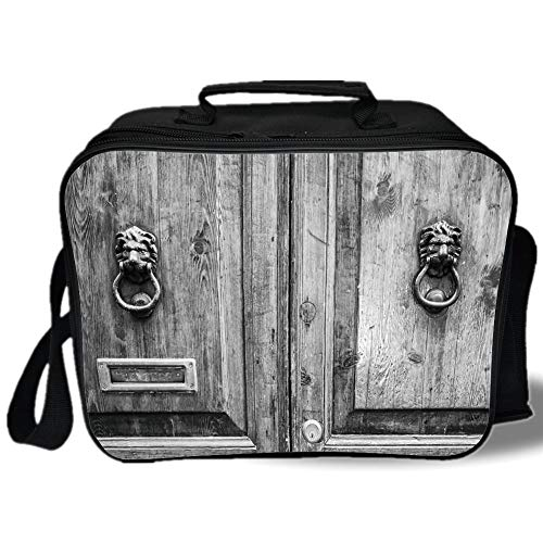 Insulated Lunch Bag,Rustic,Black and White Photography of Tuscany House Doorway Florence with Lion Head Handlers,Grey,for Work/School/Picnic, Grey