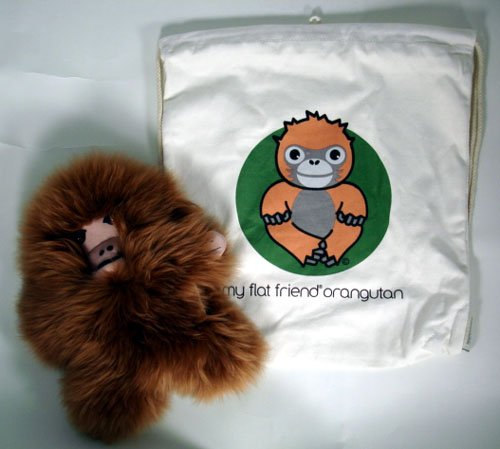 Flat Friends ORANLD Orangutang Lambskin Soft Plush Toy Drawstring Bag