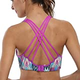 CharmLeaks Women's strappy bra workout bra top workout clothes workout tanks sports bra,Pur Chic,Medium