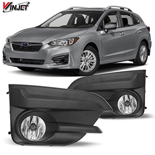 Winjet WJ30-0550-09 OEM Series for [2017-2019 Subaru Impreza] Clear Lens Factory Style OE Fitment A Pair Replacement Set with Bezels, Bulbs, Relay Driving Fog Lights + Switch + Wiring Kit