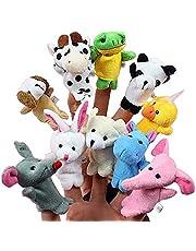Retoo 10 stuks vingerpoppen met kleine dierenfiguren, pluche speelgoedset voor verjaardag, kinderfeest, doop, babyparty, Pasen, pluche figuur voor baby, jongens en meisjes, handpoppen met pluche dieren
