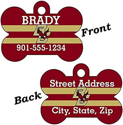 Boston College Eagles Double Sided Pet Id Dog Tag Personalized With 4 Lines of Text